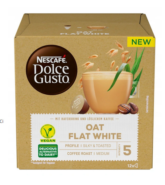 NESCAFE DOLCE GUSTO CAPSULES OAT FLAT WHITE 12 PODS VEGAN COFFE MIX DRINK