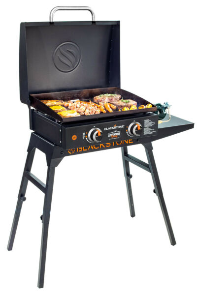 22quot; Portable Flat Top Gas Griddle w Hood and Hose Adapter Outdoor Cooking Grill