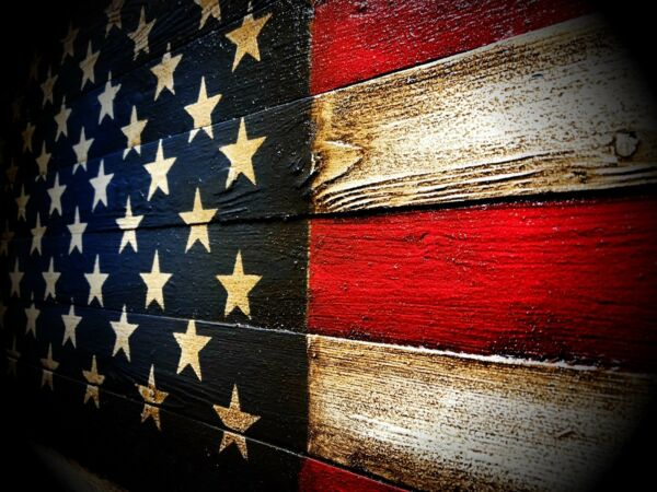 LARGE Rustic Wooden American Flag