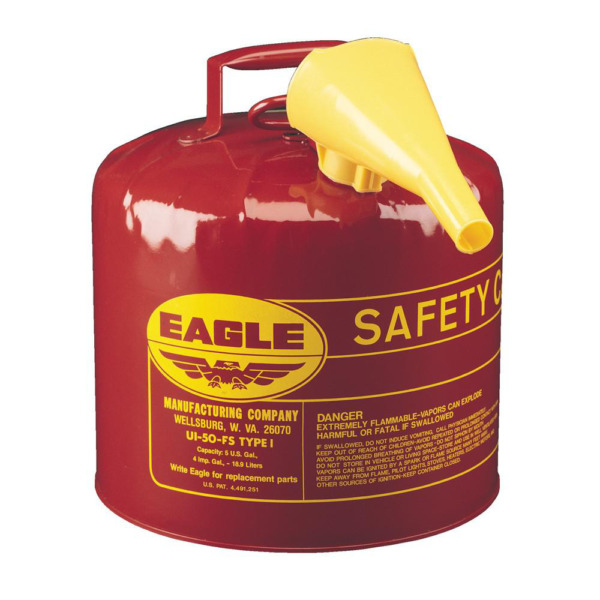 Red Galvanized Steel Type Gasoline Safety Can with Funnel 5 Gallon Capacity Gas $55.64