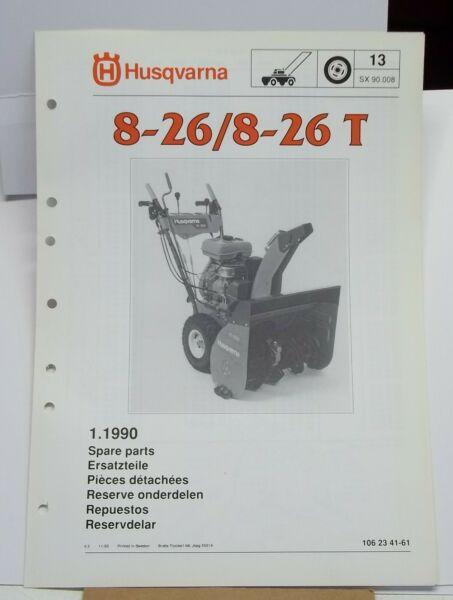 Husqvarna Snow Blower Spare Parts Catalog model 8 26 and 8 26T Fold out