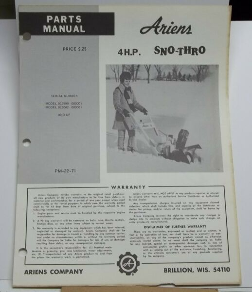 Vintage Ariens Parts Manual model 4hp Sno Thro manual # PM 22 71 snow blower