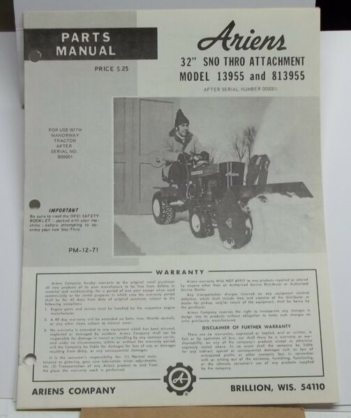 Vintage Ariens Parts Manual model 32quot; Sno Thro Attachment manual # 12 71 Rider