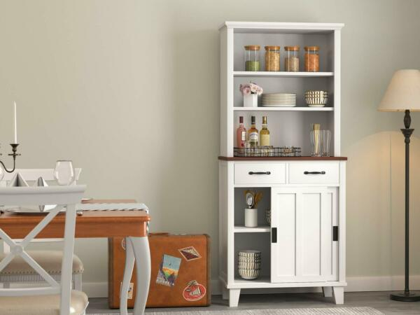 Sideboard Buffet Hutch Adjustable Shelves Kitchen Pantry Storage Cabinet White
