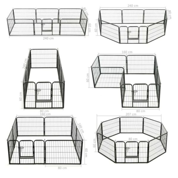 8 12 16 Panels Tall Dog Playpen Large Crate Fence Pet Play Pen Exercise Cage