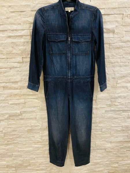 New Madewell Denim Zip Up Boiler Suit Jumpsuit XS Retail $168 Sold Out $65.00