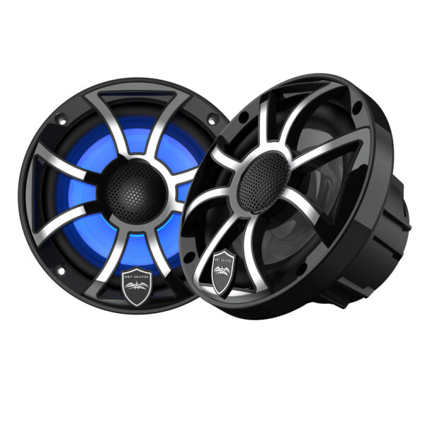 Wet Sounds REVO 6 XSB SS Black XS Stainless Grill 6.5quot; Marine LED Speakers