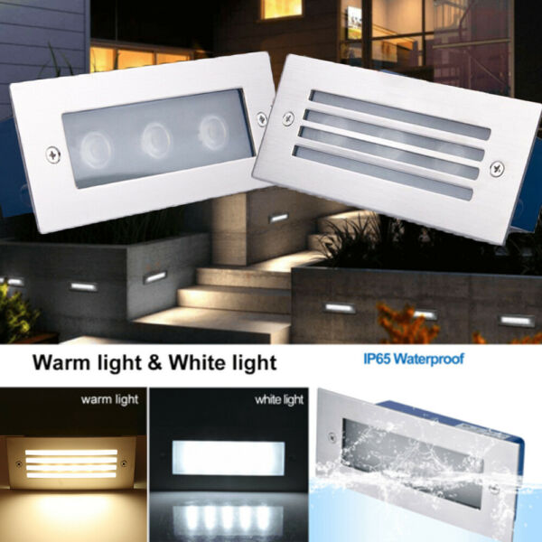 LED Stair Step Well Light Outdoor In Ground Garden Waterproof Pathway Wall Lamp $12.99