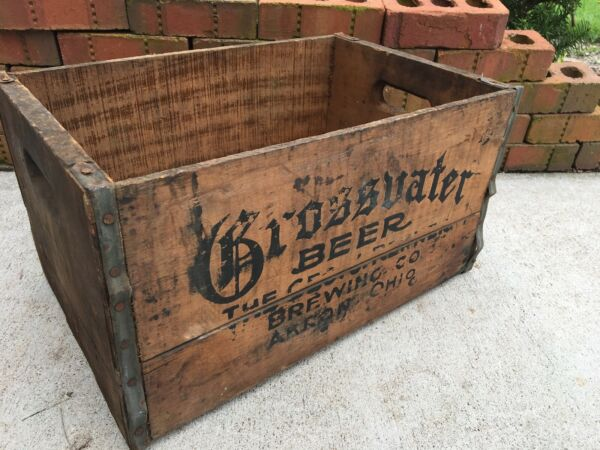 Vintage Wooden Beer Crate Grossvater Brewing Company Akron Ohio Wood Box