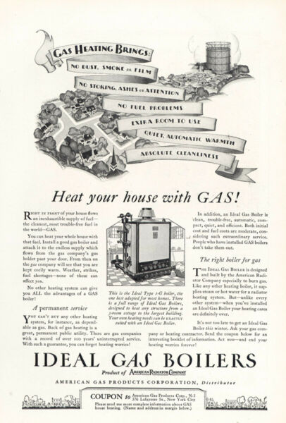 1927 Ideal Gas Boilers: No Dust Smoke or Film Vintage Print Ad $7.25