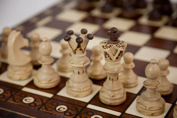 Large Handmade Wooden Chess Set 21quot; Hand Carved Board Pieces Full Vintage Game