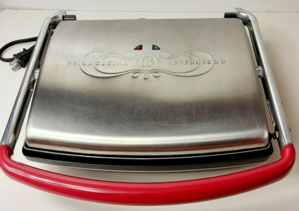 Bella Cucina Stainless Grill Panini Sandwich Maker Press Electric # 13002