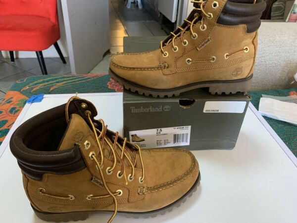 Timberland Men#x27;s Oakwell 7 Eye Moc Toe Boots WHEAT $50.00
