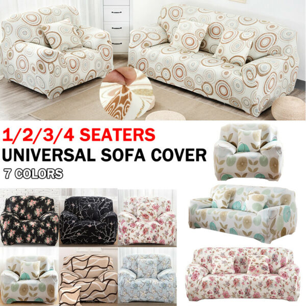 1 4 Floral Printed Sofa Seater Stretch Chair Couch Covers Elastic Slipcover US $15.40