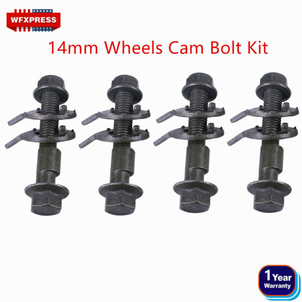 4 BOLTS 14MM FRONT LEFT amp; RIGHT CAMBER ALIGNMENT ADJUSTABLE CAM BOLTS KIT