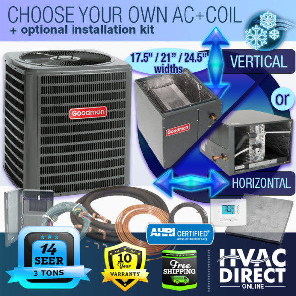 3 Ton 14 SEER Goodman Air Conditioner GSX140361 Build Your Own Coil Kit AC $1981.00