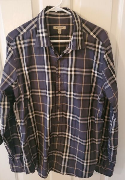 Burberry Men#x27;s XL Shirt Gray Black Nova Check Cotton Button Down AS IS Read Desc $39.99