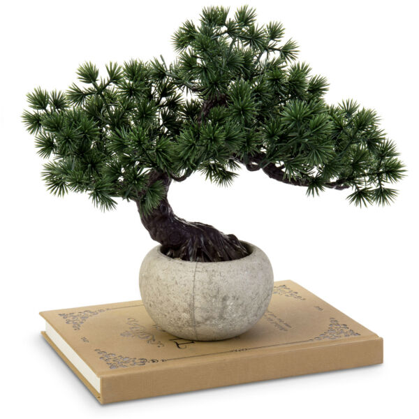 MyGift Indoor Artificial Faux Bonsai Tree in Round Gray Paper Pulp Planter Pot