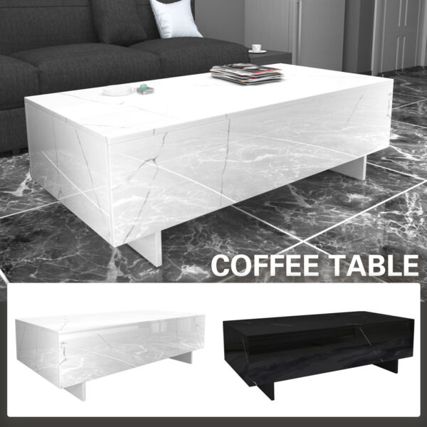 Modern White Black Coffee Table High Gloss Rectangular Living Room Furniture