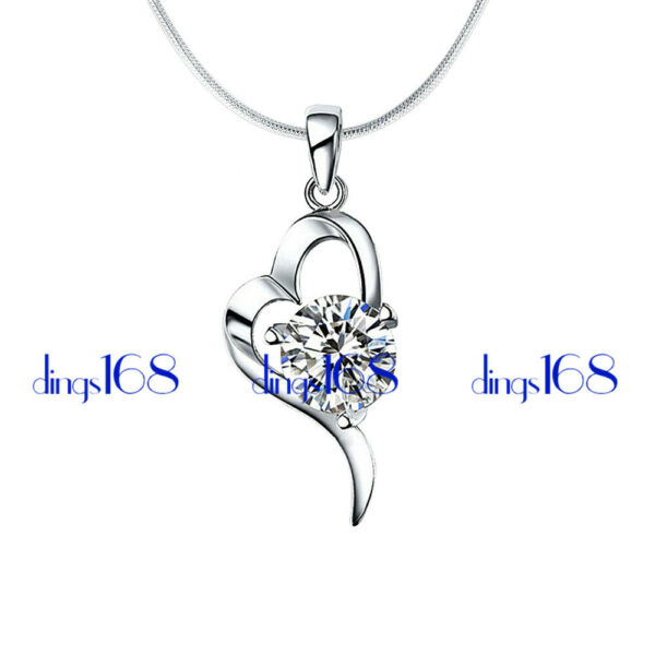 925 Sterling Silver #TARNISH FREE# Heart Crystal Pendant Necklace H736 $19.99