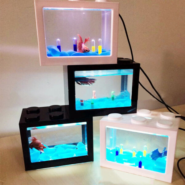 USB Mini Fish Tank Small Aquarium LED Light Office Desktop Home Decor Kids Gift $10.99