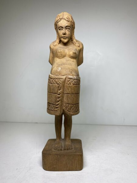 Vintage Sculpture of Pregnant Indian Squaw Carved Figure Woman Motherhood