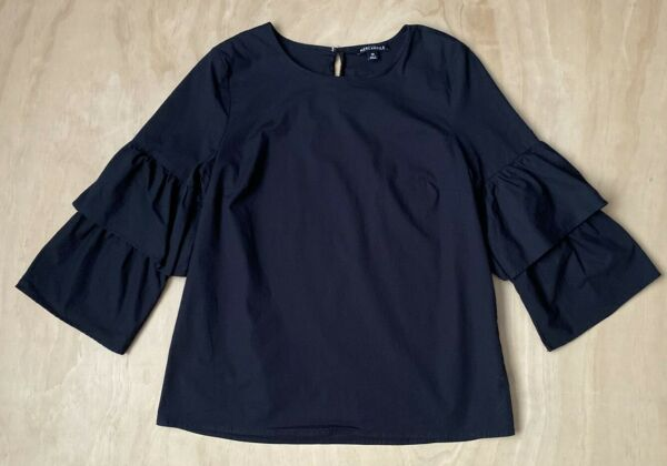 J CREW MERCANTILE BLACK TIERED BELL 3 4 SLEEVE TOP SIZE 10 B3 $19.97