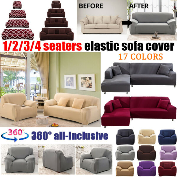 1 4 Seater Elastic Couch Sofa Slipcovers Recliner Sofa Cover Protect Washable