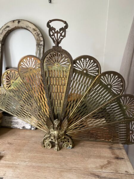 Antique vintage brass fireplace screen fan Victorian