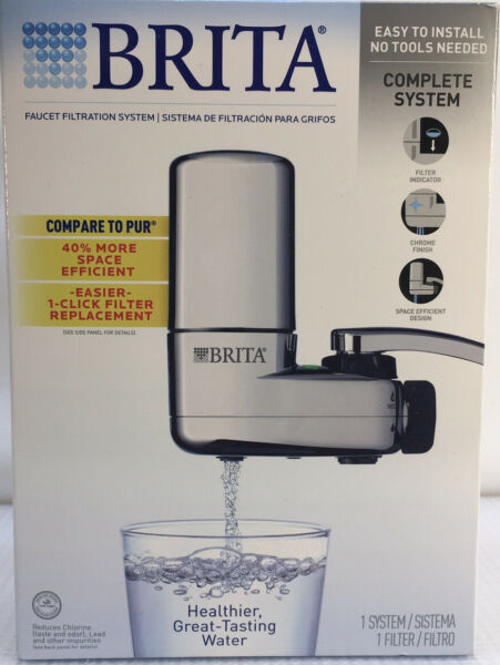 Brita Faucet Filtration CHROME System #SAFF 100 Easy 1 Click Filter Replacement