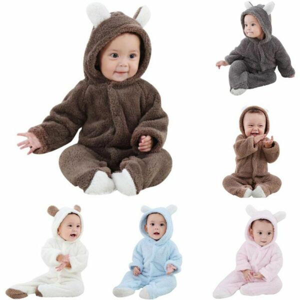 Bear Hooded Romper Jumpsuit Bodysuit Clothes Newborn Baby Boy Girl Outfits