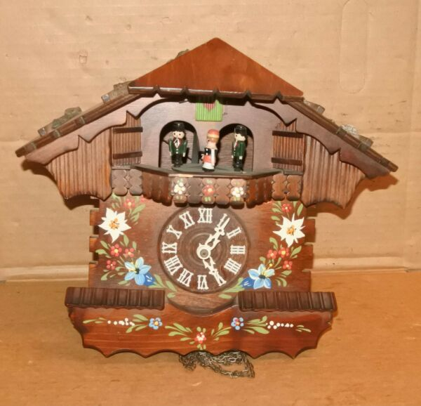 Vintage Black Forest Cuckoo Clock Swiss Musical Flowers AS IS