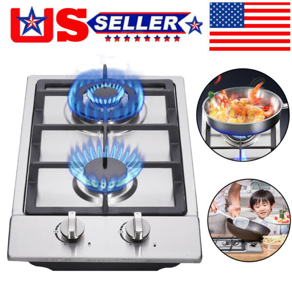 12quot; Gas Cooktop 2 Burners Drop in Propane natural Gas Cooker Gas Stove