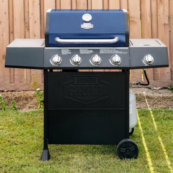 Expert BBQ Grill 4 Burner with Side Burner Propane Gas Barbeque Grill in Blue