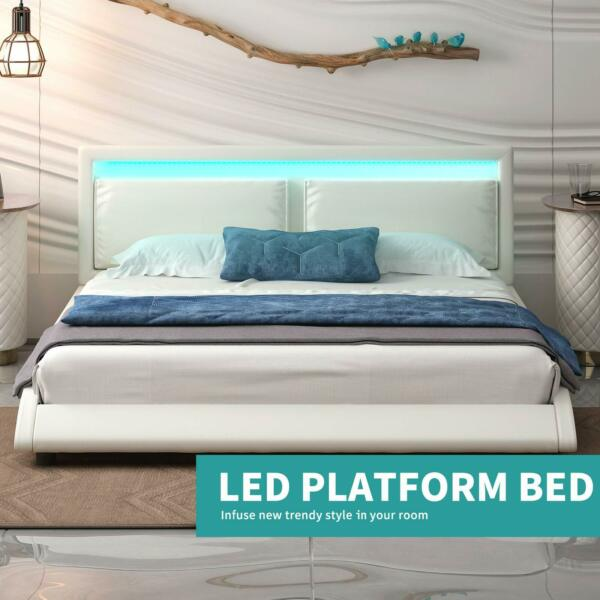 Full Faux Leather Bed Frame 8 Color Adjustable LED Lights in Headboard White $330.99