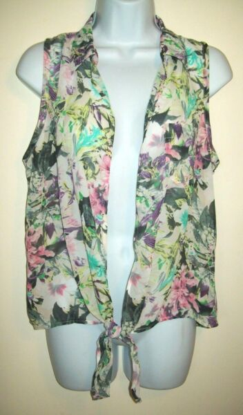 Fang Womens Knotted Hem Semi Sheer Open Vest Size M Colorful Floral Sleeveless