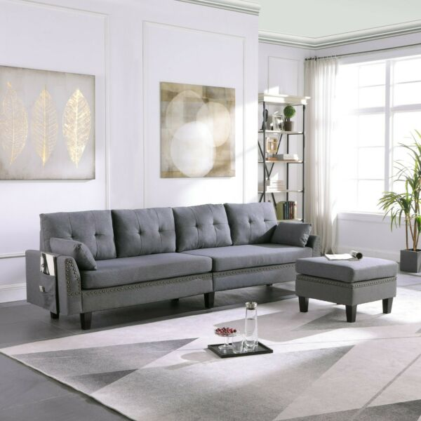 4 Seaters Sectional Sofa Couch with Storage Ottoman Pillows Upholstered Fabric $349.99