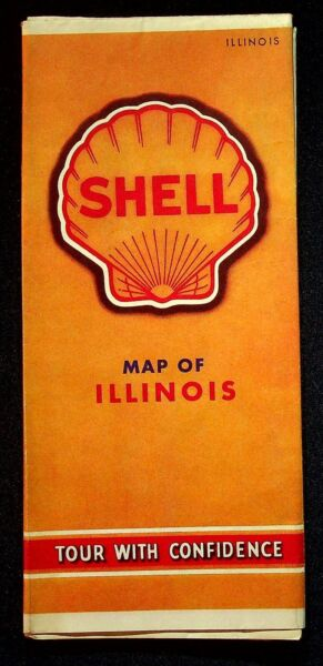 1930 Shell Road Map Of Illinois Tour With Confidence