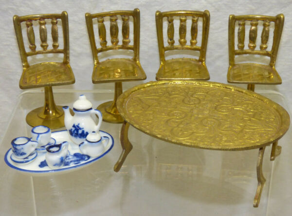 Vtg Dollhouse Lot 4 Solid Brass Bar Stool Chairs amp; Coffee Table w Delft Tea Set