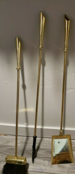 Vintage Antique Solid Brass Fireplace Tool Set 3 Pieces