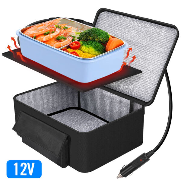 Portable Food Warmers Electric Heater Lunch Box Mini Oven 12V Car Power Black $29.38