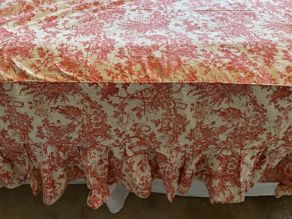 """Custom Bed Skirt RV or Day Bed Red Off White Toile 32"""" X 74"""" 18"""" Drop On Sides $19.99"""