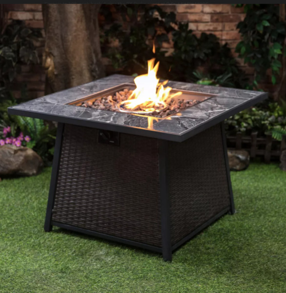 Berkley Jensen 35quot; Wicker Gas Fire Table with Cover