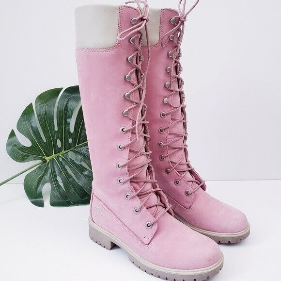 Timberland Pink Knee High Leather Boots Women#x27;s Size 5.5 $75.00