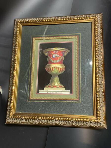 """Antique Ornate Large Wood Gesso Picture Frame Bronze 19 1 2 """" X 16 1 2"""" W Mat"""