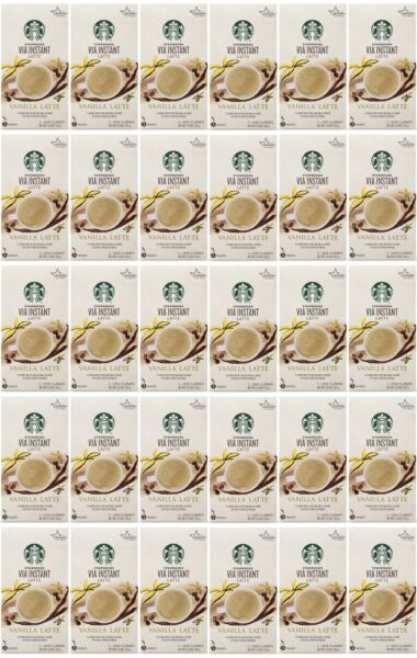 150 Count Starbucks VIA Instant Latte Vanilla 5 Packets Each BEST BY 8 20