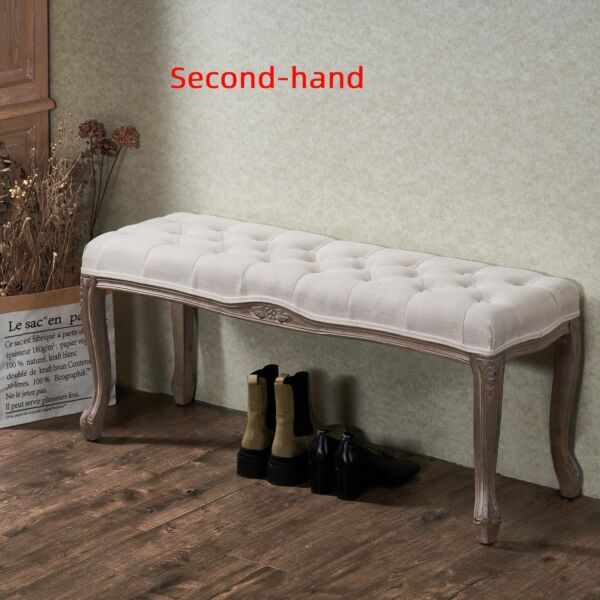 Secondhand Long French Vintage Upholstered Bench for Entryways and End of Bed
