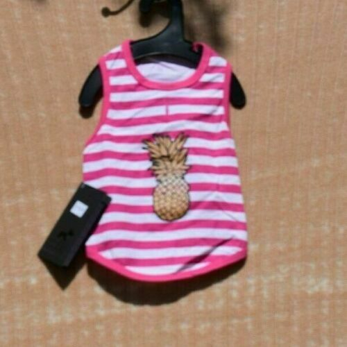 Hotel Doggy Pink Striped Pineapple Tank Pet Dog Medium $13.90