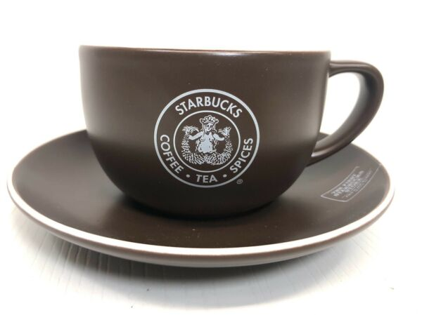 Starbucks Pike Place Market 2008 Brown Cup amp; Saucer Set 10 fl oz First Store