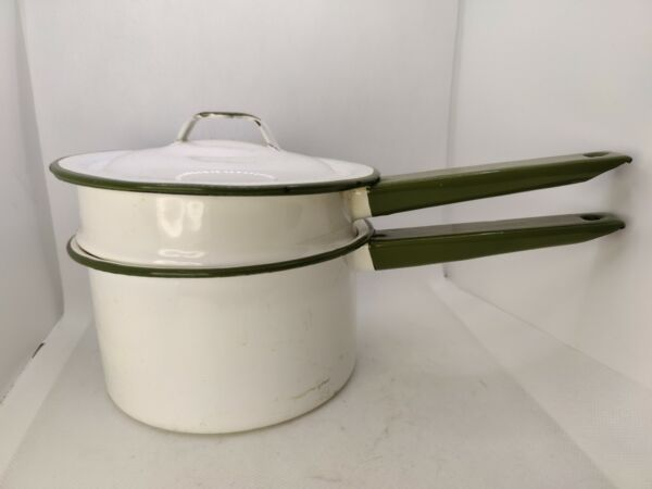Vintage Enamel double boiler White with green trim amp; Handles $19.99